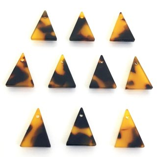 べっこうパーツ(10個)三角形 樹脂製チャーム