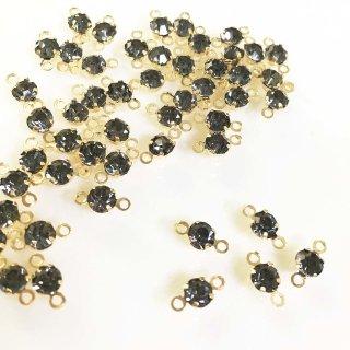 ラインストーンコネクター4mm(ブラックダイヤモンド)(50個)ゴールド台座付ビジューつなぎパーツ