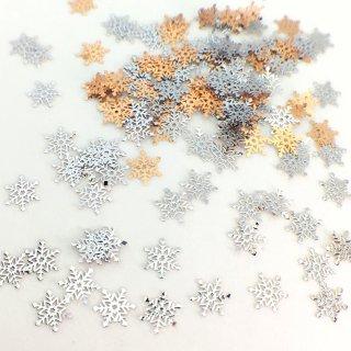雪の結晶B(樹枝六花)100枚 レジン封入 超薄メタルパーツ シルバー