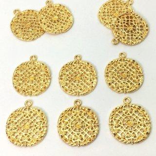 花の紋章 透かしチャーム(6個)ゴールド