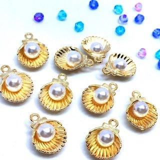 ヴィーナスの貝殻(10個)パール付シェル ゴールドチャーム