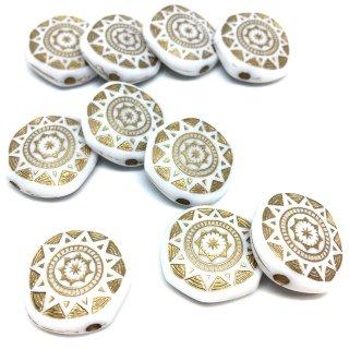 ホワイトアイボリーカラーアンティーク調ビーズ 10個 フラワーコインアクセサリーパーツ