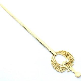 ツルのかんざし ゴールドヘアアクセサリー レジンセッティング鶴