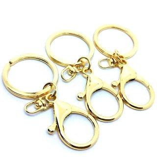 ラウンドカニカンキーホルダー金具(3個)ゴールド 基礎金具