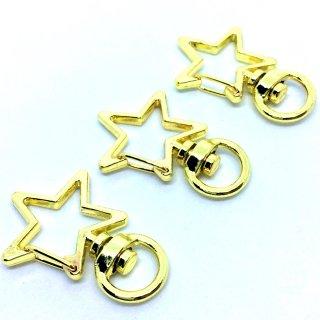 星のカニカンキーホルダー(3個)ゴールド 基礎金具