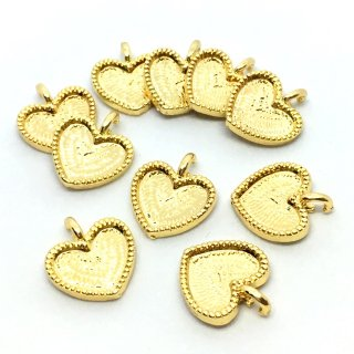 プチハートのミール皿 セッティング(10個)カン付レジン枠 ゴールド