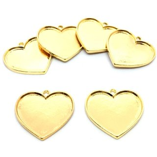 ハートのミール皿 セッティング(6個)グランデ カン付レジン枠 ゴールド