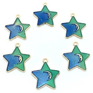 バイカラーのラメ入り星チャーム(ブルー×グリーン)6個 アステール