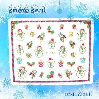 【レジンシール】クリスマス(2枚入)(雪だるまのプレゼント)ゴールドクリスマスフィルムネイルシール