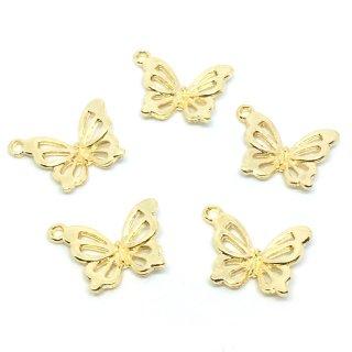 優雅な蝶チャーム(6個)バタフライ ゴールド