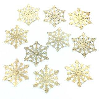 透かしパーツ 雪の結晶(10個)極薄 ゴールド