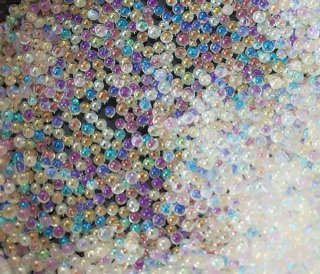 虹のシャボン玉 オーロラ加工 50g大量レジン資材 ガラスブリオン 0.7mm