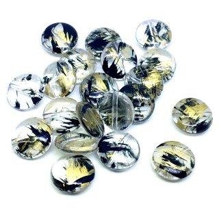 ルチルビーズ(20個)クリアブラックゴールド コイン アクセサリーパーツ