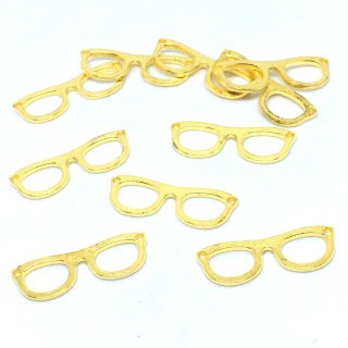 メガネフレームのチャーム(10個)レジンフレーム 眼鏡 コネクター 空枠 ゴールド