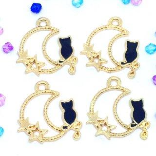 眺めるネコと月のフレームチャーム 黒猫(4個)ゴールドベース ホワイト