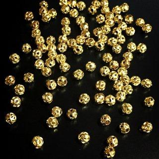 メタルビーズ 透かしナツメ(50個)ゴールド ビーズ