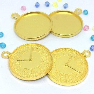 懐中時計のミール皿 チャーム レジン枠(4個)オープンフェイス
