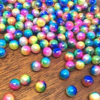 虹色グラデーション(100個)ノンホールグラデーションパール 無穴