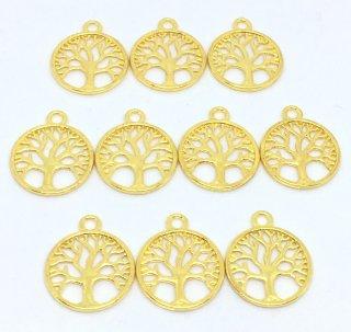 珊瑚 サンゴチャーム(10個)ゴールドデザイン チャーム 丸窓の木 植物 レジンフレーム