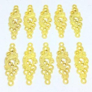 ユリのコネクター(10個)ゴールドデザインチャーム 植物 花 百合
