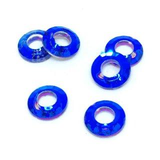 リングガラスビジュー(6個)オーロラマリンブルー  オーロラビーズ