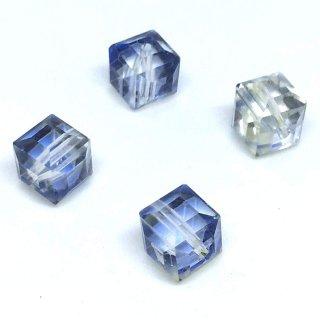 ガラスキューブビーズ【星空グラデーション】ガラスカット(4個)