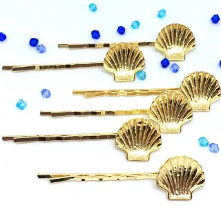 シェルのミール皿付きヘアピン(6個)ゴールドヘアアクセサリー レジンセッティング ヘアクリップ 貝殻