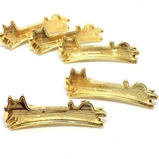 猫のミール皿付クリップ(2個)ゴールドヘアアクセサリー レジンセッティング ヘアクリップ デコ土台 ねこ ネコ