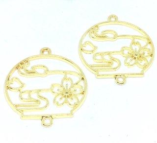 風鈴フレーム(2個)霞桜 和柄 ゴールド レジン セッティング