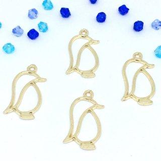 行進ペンギンのレジンフレーム(4個)ペンギン ゴールド レジン セッティング 空枠