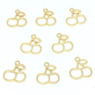 サクランボのレジンフレーム(8個)ゴールド チェリーチャーム セッティング 空枠