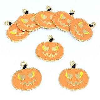8個 ジャック・オー・ランタン ハロウィン ゴールドチャーム かぼちゃ