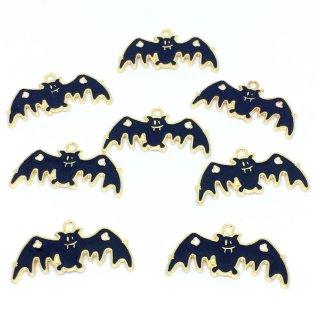 8個  おばけこうもり ハロウィン ゴールドチャーム 蝙蝠