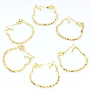 6個 猫シルエットのフープピアスポスト ネコ