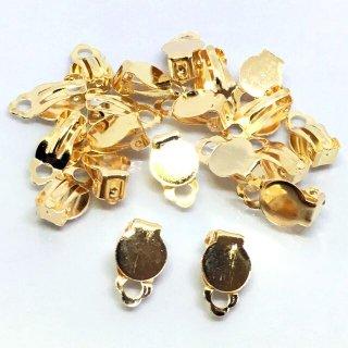 20個 貼付用丸皿付クリップイヤリング 基礎金具 ゴールド