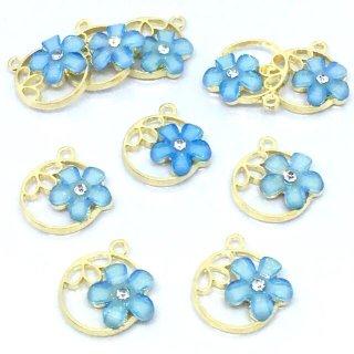 6個 フラワーチャーム【セレストブルー】 花 カラーブルーム空枠