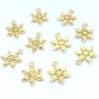 4個 雪の結晶チャーム ゴールド 星状六花 スノーフレーク【在庫限り】