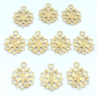 10個 雪の結晶チャーム ゴールド スタースノウ スノーフレーク