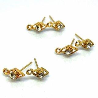 6個 ダイヤのカン付きピアスポスト ビジューストーン付き クリスタルガラス