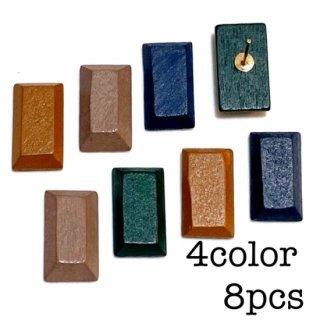 【4色8個】 長方形の貼り付けウッドパーツ カボション 木製