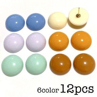 【6色12個】 丸い貼り付けアクリルパーツ カボション レトロ デコ パステル
