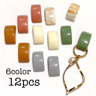 【6色12個】 長方形の貼り付けアクリルパーツ カボション レトロ