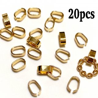 20個 つなぎカン 平オーバル アクリルパーツの繋ぎ金具 ゴールド コネクター パーツ