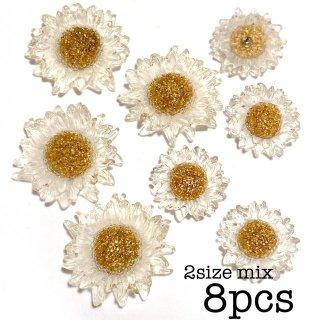 【2サイズ8個】フラワーカボション 氷の花 デイジー 貼り付けパーツ デコ 半透明 クリア