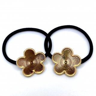 2個 セッティング土台付ヘアゴム【花】レジン ミール皿 デコ土台 ゴールド