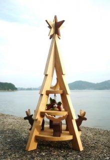 クリスマスツリー モミの木とトナカイ(台円形タイプ)