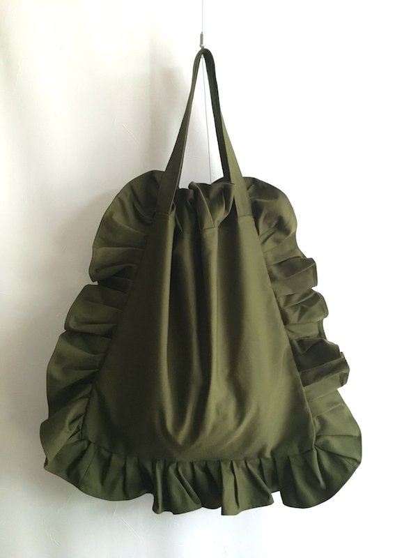 Canvas Tote Bag  / 帆布 フリルバック  Khaki Big