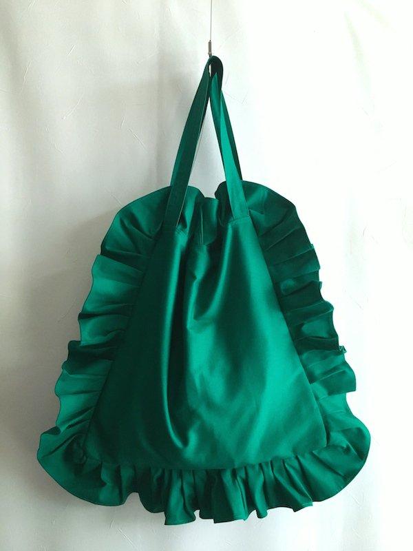 Canvas Tote Bag  / 帆布 フリルバック  Green Big