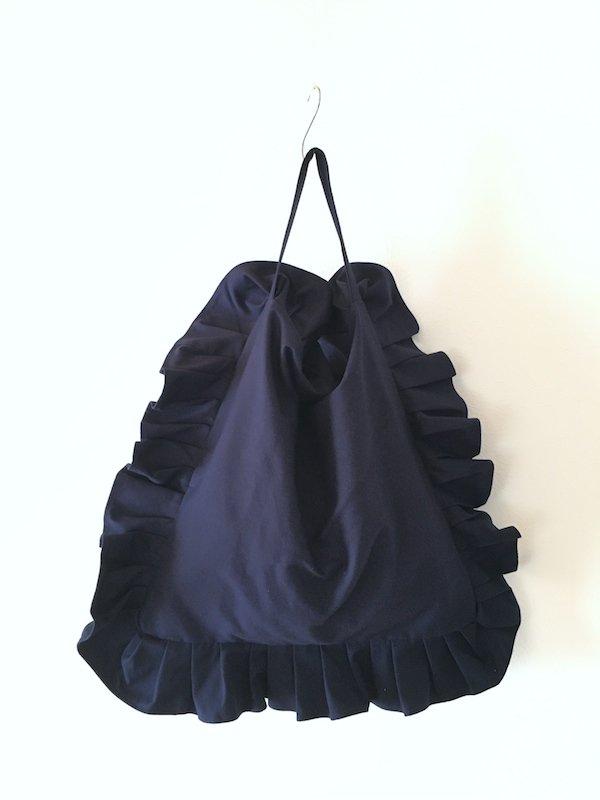 Canvas Tote Bag  / 帆布 フリルバック  Navy Big