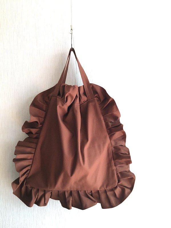 Canvas Tote Bag  / 帆布 フリルバック  Brown  Bigサイズ